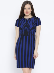 Van Heusen Woman Black & Blue Printed Sheath Dress