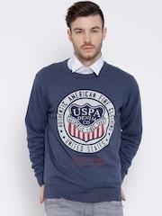 U.S. Polo Assn. Blue Printed Sweater