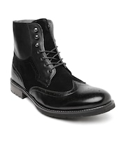 Steve Madden Men Black Leather Boots