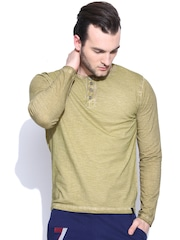 Spunk Beige Washed Henley T-shirt