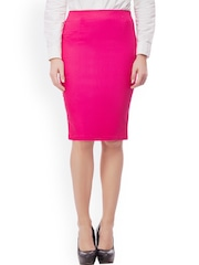 Purple Feather Pink Pencil Skirt