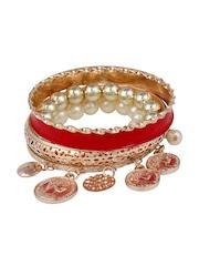Shining Diva Red & Gold-Toned Bracelet
