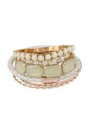 Shining Diva Gold-Toned & White Bracelet