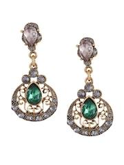 Shining Diva Gold-Toned Drop Earrings