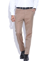 Arrow New York Beige Tapered Fit Formal Trousers
