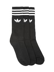 Adidas Originals Unisex Black Solid Crew Set of 3 Knee-Length Socks