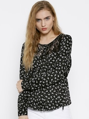 GUESS Women Black Printed Top
