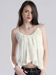 GUESS White Semi-Sheer Top with Embroidered Detail