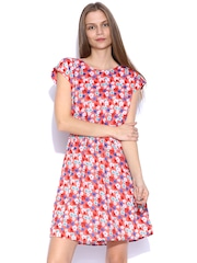 Allen Solly Woman Coral Orange Floral Print Fit & Flare Dress