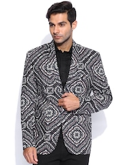 Blazer Quarter Grey & Taupe Printed Slim Fit Blazer