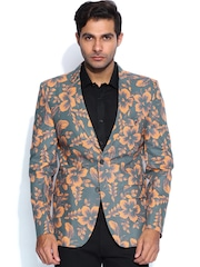 Blazer Quarter Grey & Orange Floral Print Slim Fit Blazer