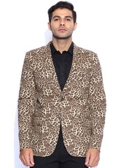 Blazer Quarter Brown Printed Slim Fit Blazer