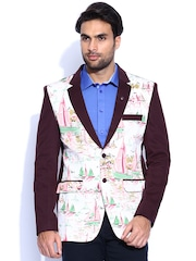 Blazer Quarter Off-White & Burgundy Printed Single-Breasted Blazer