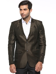 Blazer Quarter Brown Striped Single-Breasted Blazer