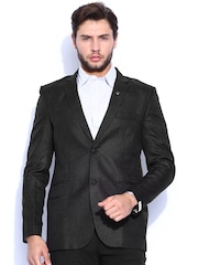 Blazer Quarter Charcoal Grey Linen Single-Breasted Slim Blazer