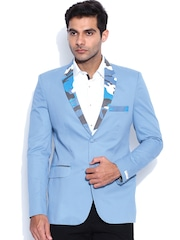 Blazer Quarter Blue Single-Breasted Slim Blazer