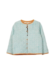 My Little Lambs Girls Blue Printed Quilted Jacket