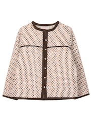 My Little Lambs Girls Brown Printed Jacket