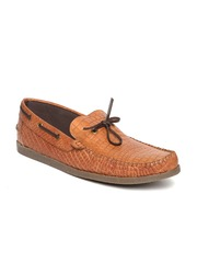 Arden by Knotty Derby Men Brown Leather Textured Boat Shoes