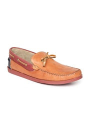 Arden by Knotty Derby Men Tan Brown Leather Boat Shoes