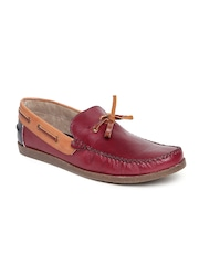 Arden by Knotty Derby Men Maroon Leather Boat Shoes