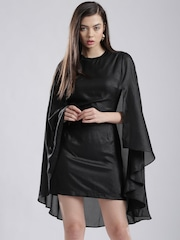 French Connection Black Shimmer Tailored Dress with Cape