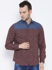 United Colors of Benetton Maroon Printed Casual Shirt