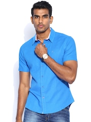 United Colors of Benetton Blue Linen Casual Shirt