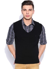United Colors of Benetton Black Sleeveless Woollen Sweater