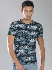 HRX by Hrithik Roshan Navy Printed T-shirt