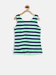 YK Girls Green & White Reversible Striped Top