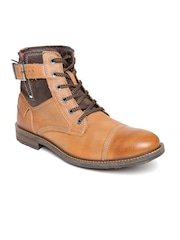 Lee Cooper Men Tan Brown Leather Boots