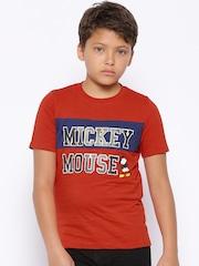 YK Disney Boys Red Printed T-shirt