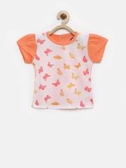 YK Infant Girls White & Peach-Coloured Printed T-shirt