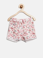 YK Girls Off-White & Pink Floral Print Shorts