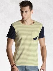 Roadster Beige Striped T-shirt
