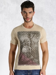 Roadster Beige Printed T-shirt