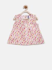 YK Infant Girls White & Pink Floral Print A-Line Dress