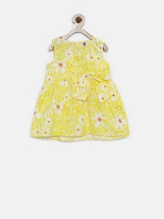 YK Infant Girls Yellow Printed Fit & Flare Dress
