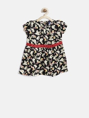 YK Infant Girls Black Printed Fit & Flare Dress