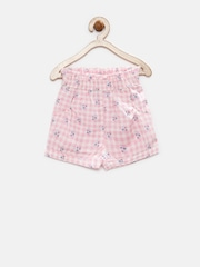 YK Infant Girls Pink & Cream-Coloured Checked Shorts