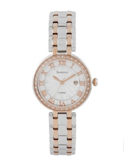CASIO Sheen Women Silver-Toned Dial Watch with Swarovski Crystals SX156