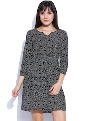 Van Heusen Woman Black Printed Shift Dress