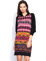 AND by Anita Dongre Black & Pink Printed Shift Dress