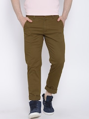 IZOD Olive Brown Casual Trousers
