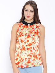 Ginger by Lifestyle Orange Floral Print Top