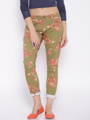 Fame Forever by Lifestyle Green Printed Trousers