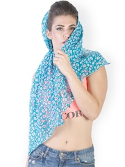 J Style Blue Printed Stole