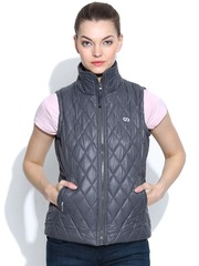 Pure Play Grey Gridlley Quilted Bomber Jacket