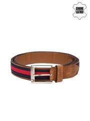 Tommy Hilfiger Men Tan Brown & Navy Genuine Leather Belt